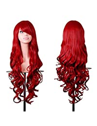 """Rbenxia 32"""" Women Wig Long Hair Heat Resistant Spiral Curly Cosplay Wig Red"""
