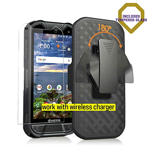Kyocera Duraforce Pro 2 Case with [Tempered Glass Screen Protector], Microseven Compatible with PRO-2 Phone (Verizon) E6910 E6900 Slim Belt Clip Holster Cover [Kickstand], Work with Wireless ()