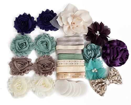 (Solera : DIY Baby Shower or Tween Headband Kit Makes 10+ Unique Hair Accessories : Shabby Chiffon Craft Roses Elastics : Toddler Teen Sage Plum Purple Ivory Elegant Floral)