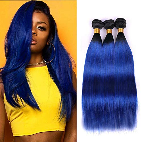 Ombre Straight Wave Hair Ombre Human Hair 3 Bundles 2 Tone Hair Bundles Black To Blue Double Weft 100% Brazilian Virgin Remy Hair Extensions Sew In Hair Weave 100g/Pcs Mixed Length(14 16 18inch)