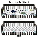 Sweet Jojo Designs Blue and Green Modern Dinosaur Long Front Rail Guard Baby Teething Cover Crib Protector Wrap