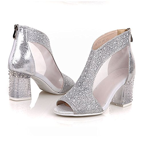 with Summer Women's Leather Silver Peep Hollowout Heel Sandals Stacked fereshte Mesh Rhinestone Boots Toe AwqR1