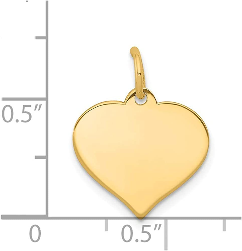 14k Yellow Gold Heart Disc Pendant Charm Necklace Engravable Curved Shaped Fine Jewelry Gifts For Women For Her