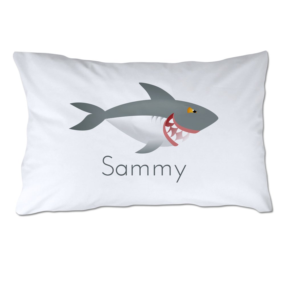 Pattern Pop Personalized Toddler Size Shark Pillowcase with Pillow Included by Pattern Pop