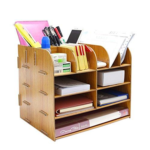 File Storage Box Holder Wood Files Supplies Office Supply Organizer DIY Wooden Detachable Desktop Multilayer File Frame A4/A5 Paper Magazine Document Desk Shelf