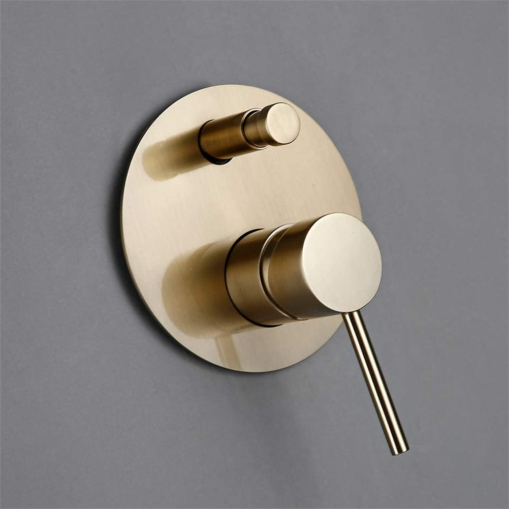 Grifo de ducha Empotrado Cepillado Dorado Grifos Mezcladores de Desviador de Lat/ón V/álvula de brazo 8-12 Cabezal de ducha Sistema de ducha Con Cabezal de ducha de mano Manguera de ducha,8inch