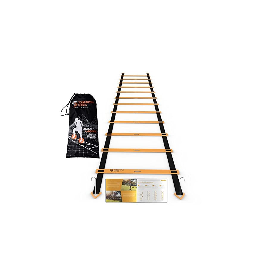 Scandinavian Sports Agility Ladder 12 Adjustable Rungs 19 Feet Agility & Speed Training Kit Quickness Training Equipment for Faster Footwork and Better Movement Skills