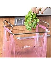 Stainless Steel Kitchen Hanging Garbage Bags Cupboard Drawer Door Waste Bin Stand Scrap Trap Bowl Dustbin Hanging Rack