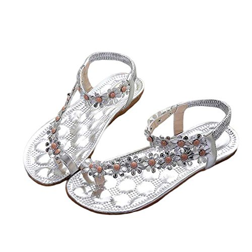 Shoes Sandals Summer Thong Women's Women Bohemia Flats Flower Nerefy Fashion Shoes Casual Silver 2018 Rqa4TWnnS