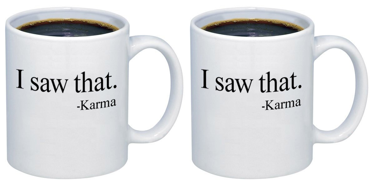 P & B I Saw That Karmaセラミックコーヒーマグカップm368 11oz. (set of 2) ホワイト B077F163D3   11oz. (set of 2)