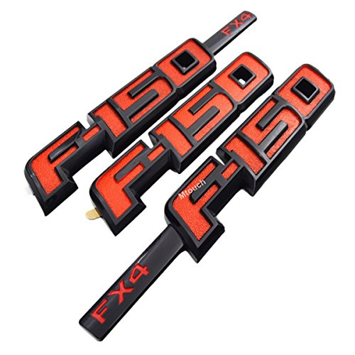 PartsTo (3 pieces) F-150 Raptor FX4 Fender + Tailgate Emblem Name Plate for Ford F150