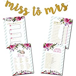 3 Bridal Shower Games Bundle with Bonus Miss to Mrs. Gold Glitter Banner & (50) Advice for the Bride Cards | (50) He Said She Said | (50) How Well do you Know the Bride | (50) What's in your Purse