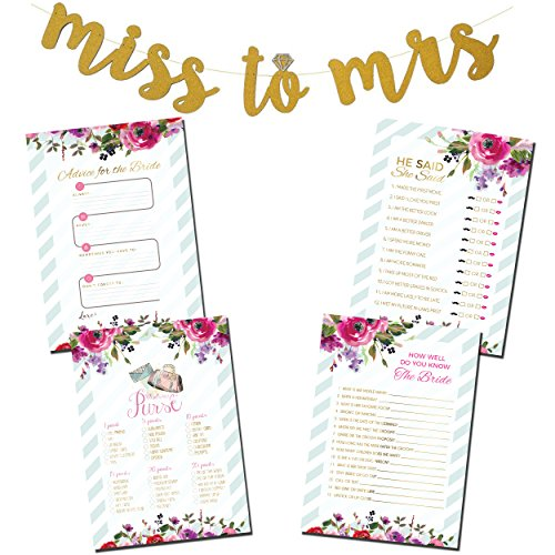 Kitchen Bridal Shower Invitations - 3 Bridal Shower Games Bundle with Bonus Miss to Mrs. Gold Glitter Banner & (50) Advice for the Bride Cards | (50) He Said She Said | (50) How Well do you Know the Bride | (50) What's in your Purse