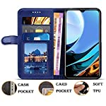 Generic Leather Flip Front and Back Case Cover Compatible with Redmi 9 Power (Blue)