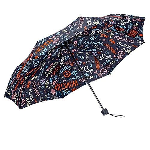 Cheap  BOY Windproof Travel Umbrella,Tri-fold Collapsible Compact Lightweight Umbrella,Designed in German (Black Graffiti)