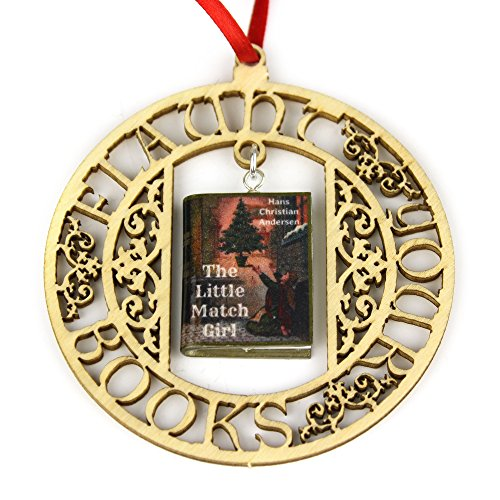 LITTLE MATCH GIRL Hans Christian Andersen Clay Mini Book FRAMED Home Decor Ornament by Book Beads