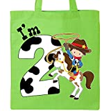 Inktastic - I'm Two-cowboy riding horse birthday Tote Bag Lime Green