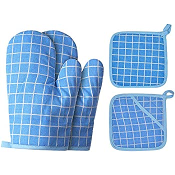 Win Change Oven Mitts and Potholders BBQ Gloves-Oven Mitts and Pot Holders with Recycled Cotton Infill Silicone Non-Slip Cooking Gloves for Cooking Baking Grilling (4-Piece Set,Blue)