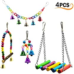 4Pcs Pet Bird Swing Toys with Colorful Wood Beads Bells and Parrot Wooden Hammock Hanging Perch, Decorative Accessories for Small Parakeet Cages