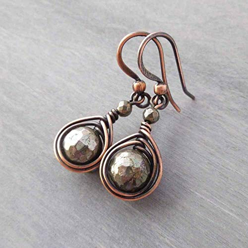 (Copper Wire Wrapped Earrings with Pyrite)