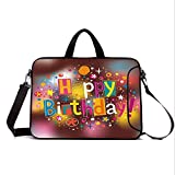 "15"" Neoprene Laptop Bag Sleeve with Handle,Adjustable Shoulder Strap & External Side Pocket,Birthday Decorations,Colorful Fun Graphic Lettering with Stars Dots Daisies Blur Background,Multicolor"
