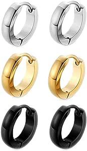 Joyería en Acero Inoxidable 3 Pares Pierced Pendientes Aro Negro ...