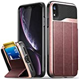 Vena iPhone XR Wallet Case, [vCommute][Military Grade Drop Protection] Flip Leather Cover Card Slot Holder with Kickstand