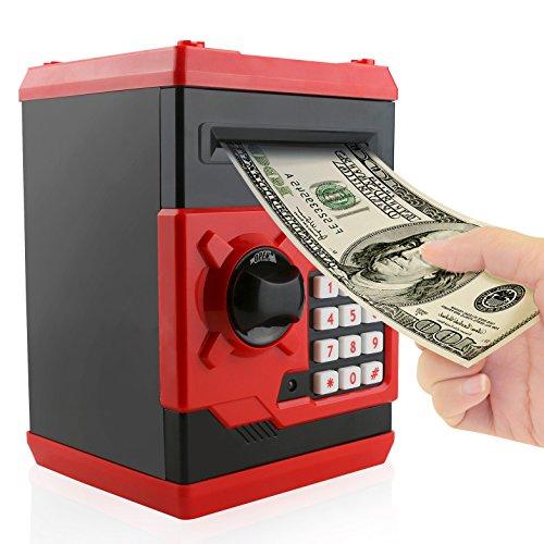 Jhua Cartoon Piggy Bank Password Electronic Money Bank Safe Saving Box ATM Bank Safe Locks Panda Smart Voice Prompt Money Piggy Box for Children (Red) (Cool Electronic Things)