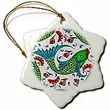 3dRose Danita Delimont - Artwork - Ancient Arab Islamic Fish Designs Pottery Madaba Jordan - 3 inch Snowflake Porcelain Ornament (orn_276909_1)