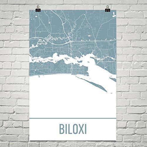 Amazon Com Biloxi Map Biloxi Art Biloxi Print Biloxi Ms Poster