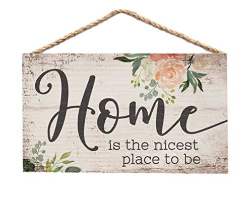 Nicest Place - P. GRAHAM DUNN Home is Nicest Place Floral Whitewash 6 x 3.5 Wood Mini Wall Hanging Plaque Sign