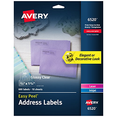 "Avery Glossy Crystal Clear Return Address Labels for Laser & Inkjet Printers, 2/3"" x 1-3/4"" 600 Labels (6520)"