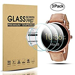 Diruite 3-pack For Fossil Q Wander Gen 2 Screen Protector, 2.5d 9h Hardness Tempered Glass Screen Protector For Fossil Q Wander Smart Watch - Permanent Warranty Replacement