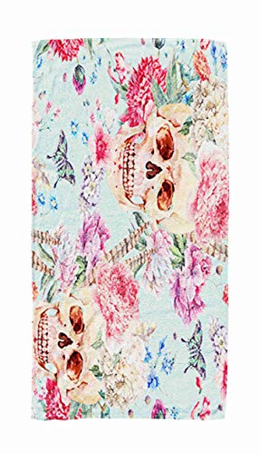 Red Travel Towel,Watercolor Pattern with Skull and Pink Peony Wildflowers Bouquet Butterfly Drawn on Blue 30x60 Inch Large Pool Towels for Body Bath,Swimming,Travel,Camping,Sport -