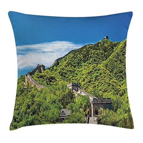TysoOLDPhoneC Chinese The Great Wall in The Lofty Ridges and Towering Mountains Miracle of The World Comfortable Nice-Looking Pillow Case/Pillow Cover 50% Cotton & 50% Polyester Size 18x18 Inches