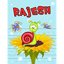 """Rajesh: Personalized Book with Child's Name for Boys, Primary Writing Tablet for Kids Learning to Write, 65 Sheets of Practice Paper, 1"""" Ruling, Preschool, Kindergarten, 1st Grade, Book Size 8 1/2"""" x 11"""""""