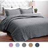 """Quilt Solid Grey Bed Cover Diamond Pattern King(106""""x96"""") 3-Piece Lightweight Hypoallergenic Microfiber """"Dominique"""" by Bedsure"""