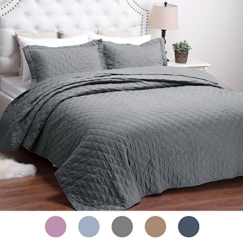 Quilt Solid Grey Bed Cover Diamond Pattern King(106