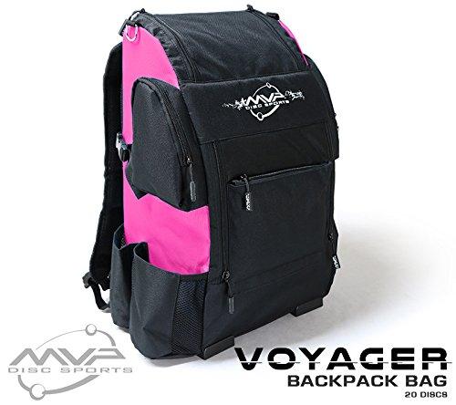 Pink Golf Golf Bag - MVP Disc Sports Voyager Backpack Disc Golf Bag (Black w/Pink)