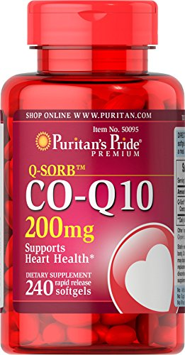 Puritan's Pride Q-SORB CoQ10 200 mg, Supplement for Heart Health Support**, Important for Statin Medication Users++, 240 Rapid Release Softgels