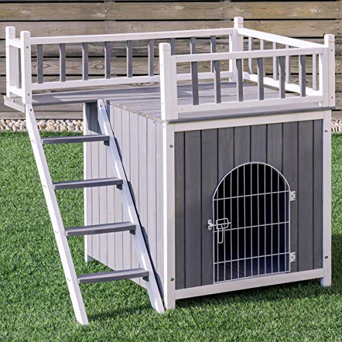 (Tangkula Pet House Wooden Outdoor Indoor Dog Cat Puppy House Room with a View)