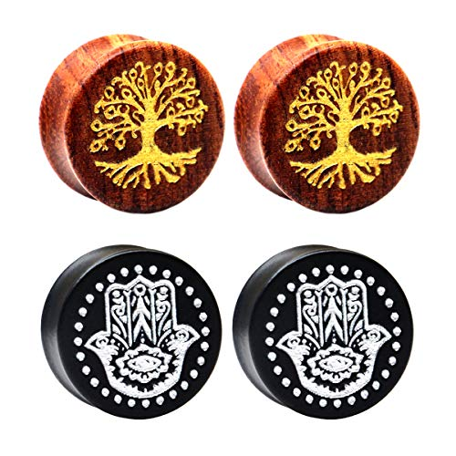 12 Piece Eyelets (Awinrel Wood 0000G Ear Gauges Saddle Plugs Flesh Laser Life Tree Hamsa Hand Tunnel Stretcher Piercing Eyelet 4 Pieces 1/2 inch 12mm)