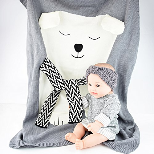 JE Seven Kids Blankets Cute Polar Bear Crochet Newborn Infant Swaddle Baby Knitted Sleeping Bedding Cover Bath Towels Sofa Beach Play Mat Light Weight not Too Thin Or Thick (Gray)