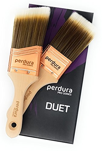 Brush Flat Varnish (Perdura Duet Sash Trim Paint Brush Twin Pack - 2 inch Professional Quality Flat and Angled Brushes for Cutting Trim and Detail Work - Water and Oil Based Paints - Contractor or DIY - Home Art + Craft)