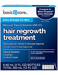 Basic Care Minoxidil Topical Solution USP, 5% Hair Regrowth Treatment for Men 12 FL OZ