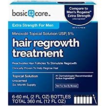 Basic Care Minoxidil Topical Solution USP, 5% Hair Regrowth Treatment for Men...