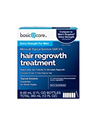 Basic Care Minoxidil Topical Solution USP, 5% Hair Regrowth T...