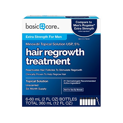 : Basic Care Minoxidil Topical Solution USP, 5% Hair Regrowth Treatment for Men 12 FL OZ