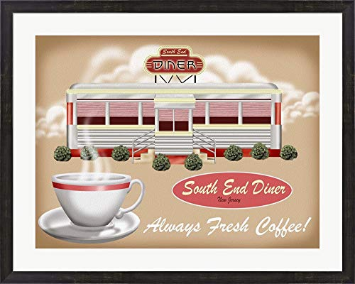 South End Diner by Tom Wood Framed Art Print Wall Picture, Espresso Brown Frame, 35 x 28 inches