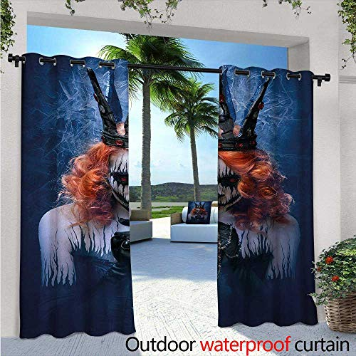 Queen Patio Curtains W96 x L108 Queen of Death Scary Body Art Halloween Evil Face Bizarre Make Up Zombie Outdoor Curtain for Patio,Outdoor Patio Curtains Navy Blue Orange -